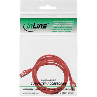 (€4,90*/1m) 1.00m InLine Cat. 6 Patchkabel S/FTP RJ45 Stecker auf RJ45 Stecker Rot halogenfrei / Knickschutzelement / Rastnasenschutz