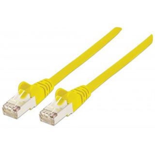(€0,49*/1m) 10.00m Intellinet Cat. 5e Patchkabel SF/UTP RJ45 Stecker auf RJ45 Stecker Gelb Knickschutzelement / vergoldet