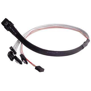 (€45,80*/1m) 0.50m Silverstone SAS Adapterkabel sf/UTP SFF-8087 Stecker auf 4xSATA Stecker Schwarz