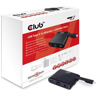 Club 3D Adapter USB 3.0 Typ C auf LAN/USB3/USB-C (MiniDock) retail