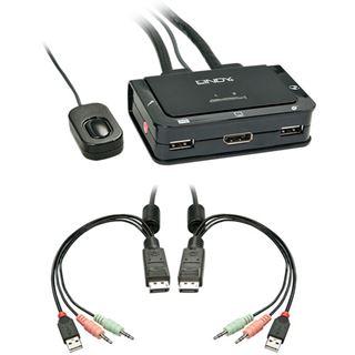 Lindy DPort KVM Switch 2 P. Comp. USB 2 Audio DP USB 2 Audio/Mikr.