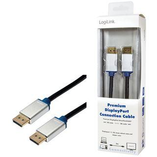(€5,45*/1m) 2.00m LogiLink Displayport 1.2 Anschlusskabel Displayport Stecker auf Displayport Stecker Schwarz Alugehäuse