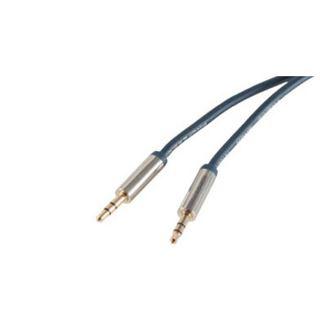 (€1,63*/1m) 3.00m ShiverPeaks Audio Anschlusskabel Smart Line Slim 3.5mm Klinken-Stecker auf 3.5mm Stecker Blau verchromte Metallstecker / vergoldet