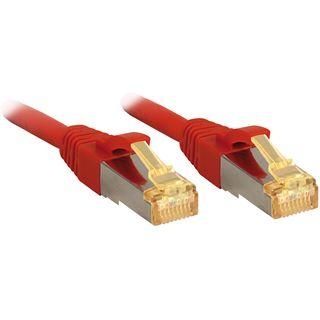 (€2,52*/1m) 7.50m Lindy Cat. 7 Rohkabel Patchkabel S/FTP PiMF RJ45 Stecker auf RJ45 Stecker Rot Klinkenschutz / vergoldet