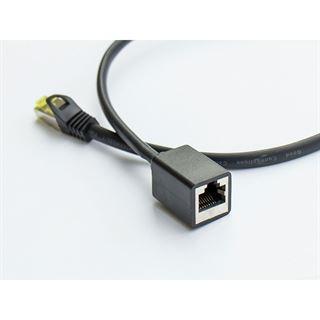 (€1,69*/1m) 10.00m Good Connections Cat. 7 Rohkabel Patchkabelverlängerung S/FTP PiMF RJ45 Stecker auf RJ45 Buchse Schwarz halogenfrei / vergoldet