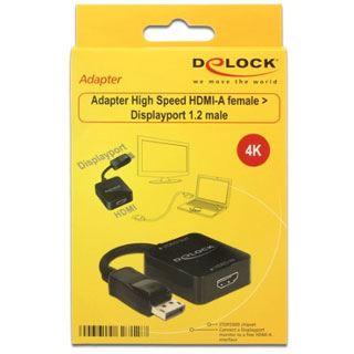 Delock HDMI Adapter High-Speed HDMI-Buchse auf Displayport Stecker Schwarz 3D-Formate / 4K / vergoldet