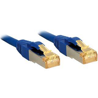 (€6,90*/1m) 1.00m Lindy Cat. 7 Rohkabel Patchkabel S/FTP PiMF RJ45 Stecker auf RJ45 Stecker Blau Klinkenschutz / vergoldet