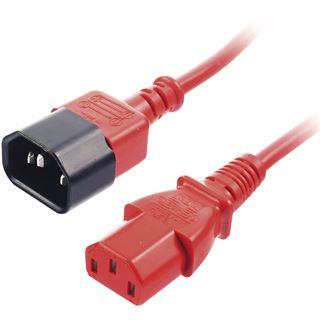 (€3,95*/1m) 2.00m Lindy IEC Verlängerungskabel Kaltgeräte Stecker C14 auf Kaltgeräte Buchse C13 Rot