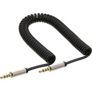 (€6,90*/1m) 1.00m InLine Spiralkabel Anschlusskabel 4pol Stecker auf 4pol Stecker Schwarz Slim / vernickelt