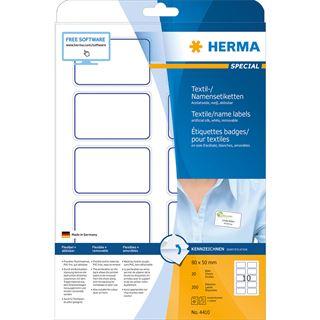 Herma Namensetiketten 80 x 50 mm, Acetat-Seide, blauer Rand