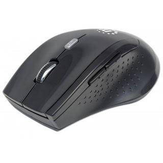 Manhattan Wireless Maus Curve , Laser, USB, 1600dpi schwarz/schwarz