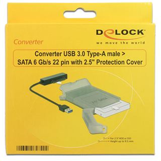 "DeLOCK Konverter USB 3.0 > SATA 22 Pin mit 2.5"" Schutzhülle"