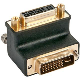 Lindy DVI-I Adapter gewinkelt unten DVI 24+5 Stecker auf DVI 24+5 Buchse Schwarz vergoldet