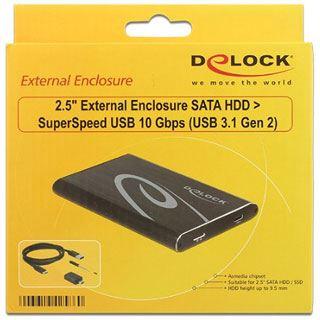 """Delock Gehäuse 2.5"""" (6,35cm) USB 3.1 Typ C schwarz"""