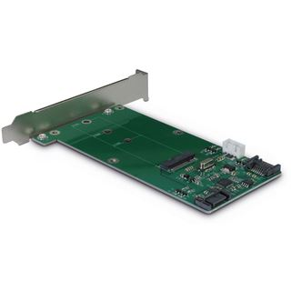 Inter-Tech Adapter KT023A, SATA zu M.2 SATA + SATA, Card