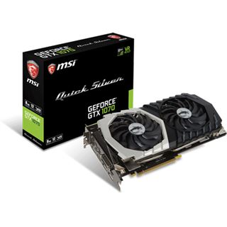 8GB MSI GeForce GTX 1070 Quick Silver 8G OC Aktiv PCIe 3.0 x16 (Retail)
