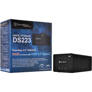 Silverstone SST-DS223 2-Bay 2,5 Zoll HDD/SSD Gehäuse USB 3.1 - schwarz