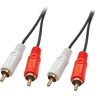(€3,45*/1m) 2.00m Lindy Audio Anschlusskabel Cinch Stecker auf Cinch Stecker Schwarz vergoldet