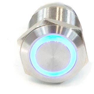Phobya Vandalismus Klingeltaster 19mm Edelstahl, blau Ring beleuchtet 6pin