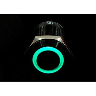 Phobya Vandalismus Klingeltaster 19mm Aluminium schwarz, grün Ring beleuchtet 6pin