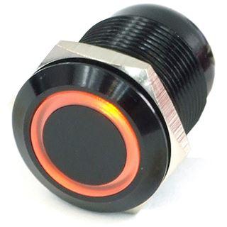 Phobya Vandalismus Klingeltaster 19mm Aluminium schwarz, orange Ring beleuchtet 6pin