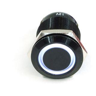 Phobya Vandalismus Klingeltaster 16mm Aluminium schwarz, weiß Ring beleuchtet 5pin