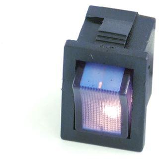 Phobya Wippschalter Eckig - beleuchtet blau - 1-polig AN/AUS schwarz (3pin)