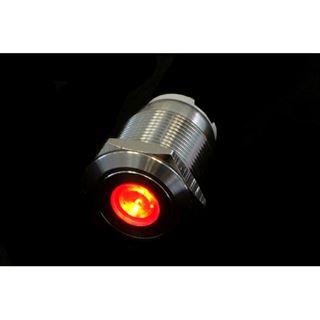 Phobya Vandalismus Klingeltaster 16mm Edelstahl, rot Punkt beleuchtet 5pin