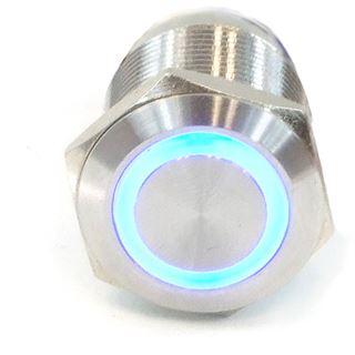 Phobya Vandalismus Klingeltaster 16mm Edelstahl, blau Ring beleuchtet 5pin