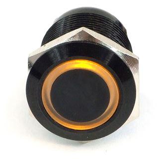 Phobya Vandalismus Klingeltaster 19mm Aluminium schwarz, gelb Ring beleuchtet 6pin