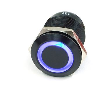 Phobya Vandalismus Klingeltaster 16mm Aluminium schwarz, blau Ring beleuchtet 5pin