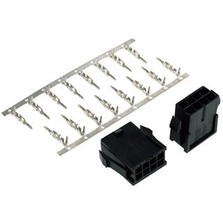Phobya VGA Power Connector 8Pin Buchse inkl. 8 Pins - 2 Stück Black