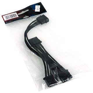 Phobya Y-Kabel 4Pin auf 3x 4Pin Molex Einzel Sleeving 40cm - Schwarz