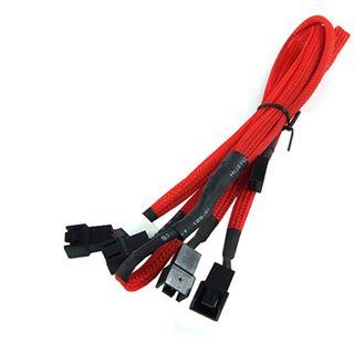 Phobya Y-Kabel 3Pin Molex auf 4x 3Pin Molex 60cm - UV Rot