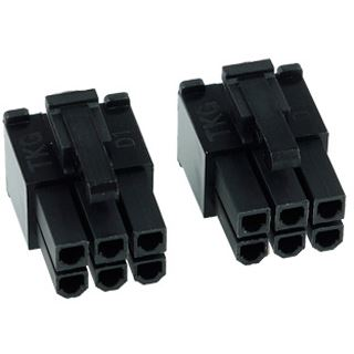 Phobya VGA Power Connector 6Pin Stecker (4-eckig) inkl. 6 Pins - 2 Stück Black