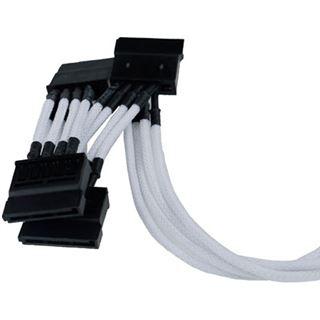 Phobya Multi SATA Strom Anschlusskabel (4x) - einzeln gesleevt - Weiß