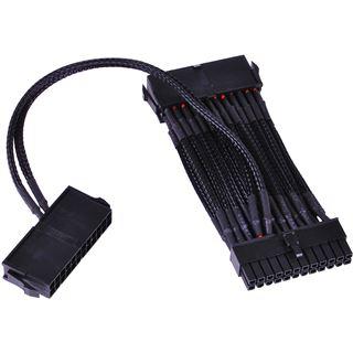 Phobya 24Pin 2-Fach Netzteilanschalterkabel (2x24pin auf 1x24pin) - Einzel Sleeving - Schwarz