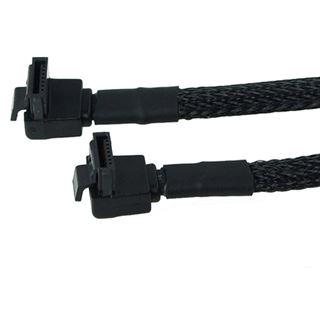 Phobya SATA 3.0 Anschlusskabel abgewinkelt mit Sicherheitslasche 45cm - Schwarz gesleevt