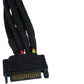 Phobya SATA Strom Y-Kabel SATA Buchse an 2x SATA Stecker Einzel Sleeving 15cm - Schwarz