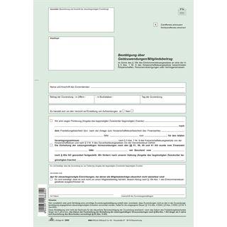 """RNK Verlag Vordruck """"Bestätigung über Geldzuwendungen"""" SD"""