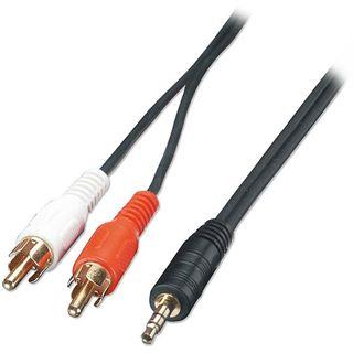 2.00m Lindy Audio Adapterkabel 2xCinch Stecker auf 3.5mm Klinken-Stecker Schwarz vergoldet