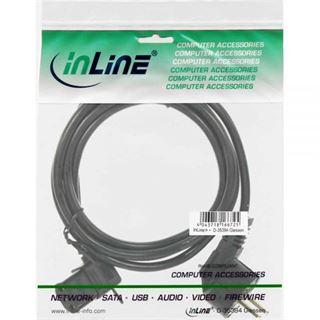 (€1,78*/1m) 5.00m InLine Stromkabel gewinkelt Schutzkontakt Stecker auf Kaltgeräte Stecker C13 Schwarz gewinkelt links