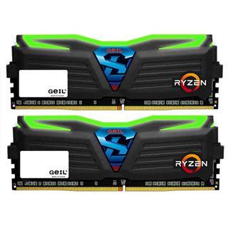 8GB GeIL Ryzen Super Luce grüne LED schwarz DDR4-2400 DIMM CL16 Dual Kit